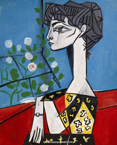 Bức Jaqueline with flowers của Picasso