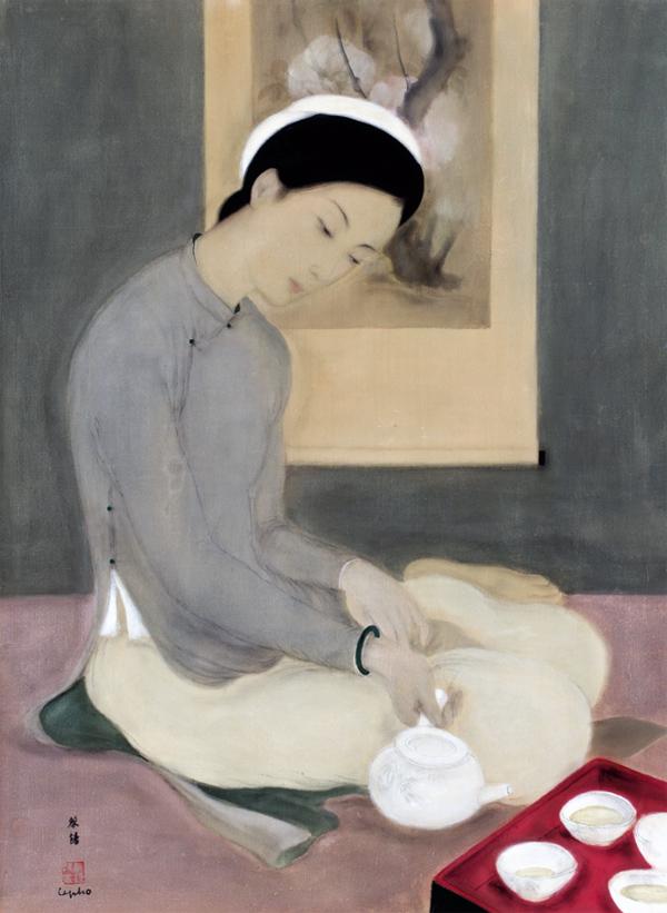 Tranh Thiếu Nữ dâng trà của HS lê phổ