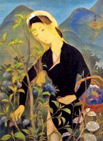 Thiếu nữ hái hoa - bức tranh được định giá gần 340.000 USD vào năm ngoái tại Hong Kong